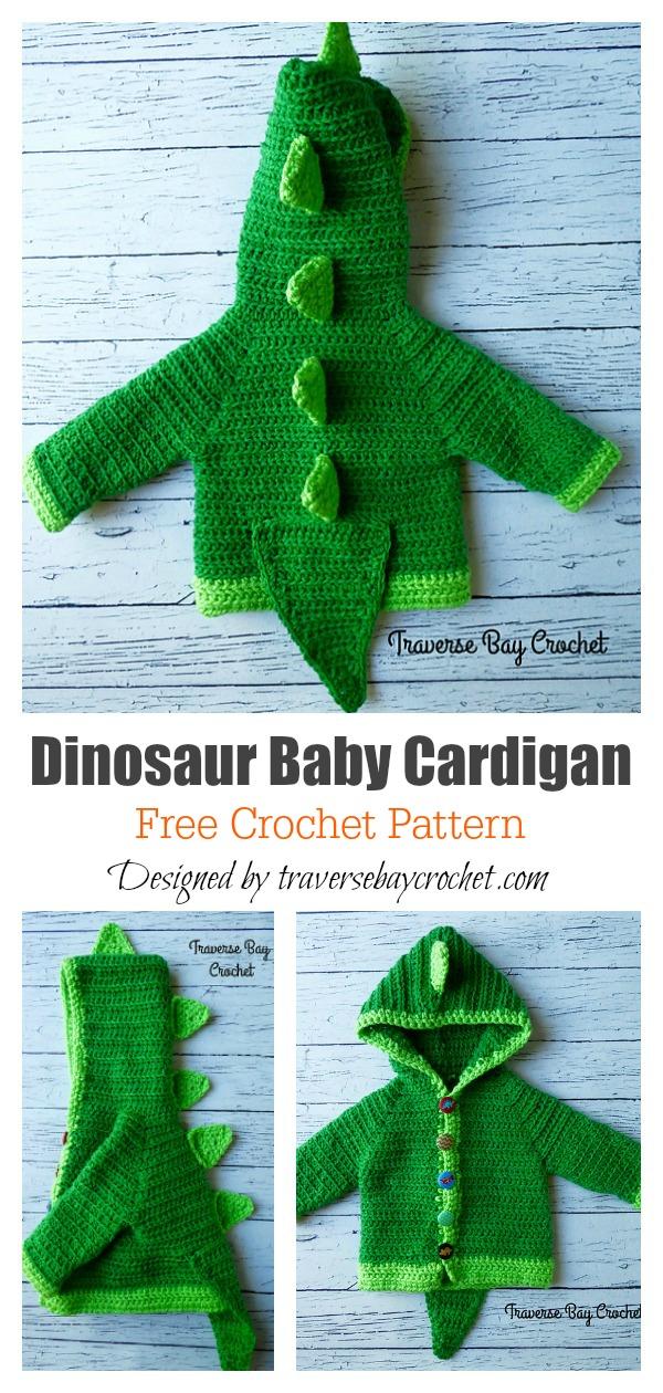 Dinosaur Baby Cardigan Free Crochet Pattern