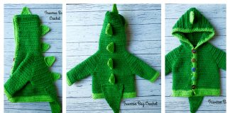 Dinosaur Hooded Sweater with Spikes Free Crochet Pattern