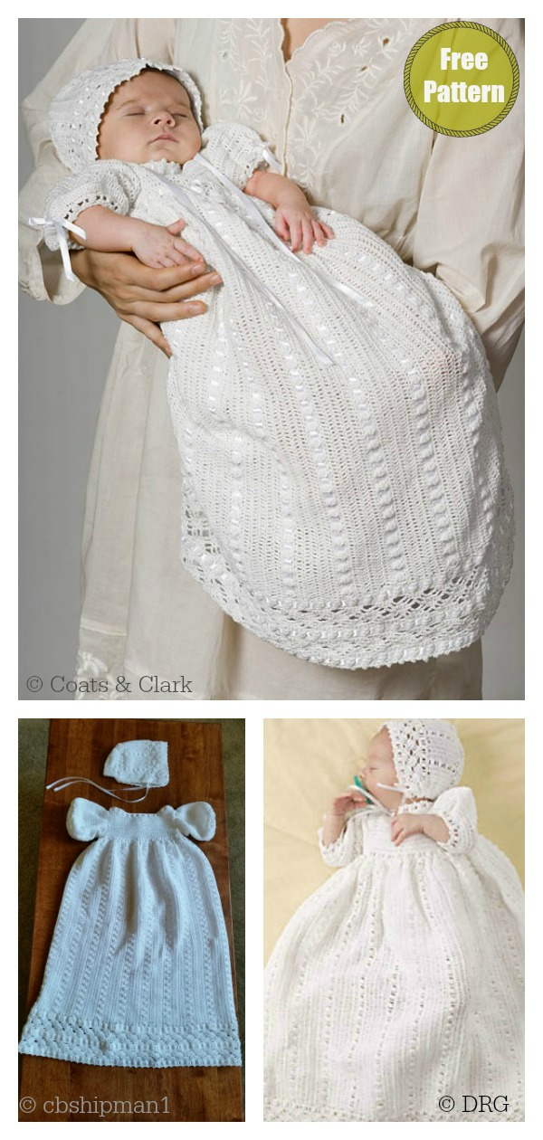 Heirloom Baby Christening Gown Set Charming Dress Free Crochet Pattern