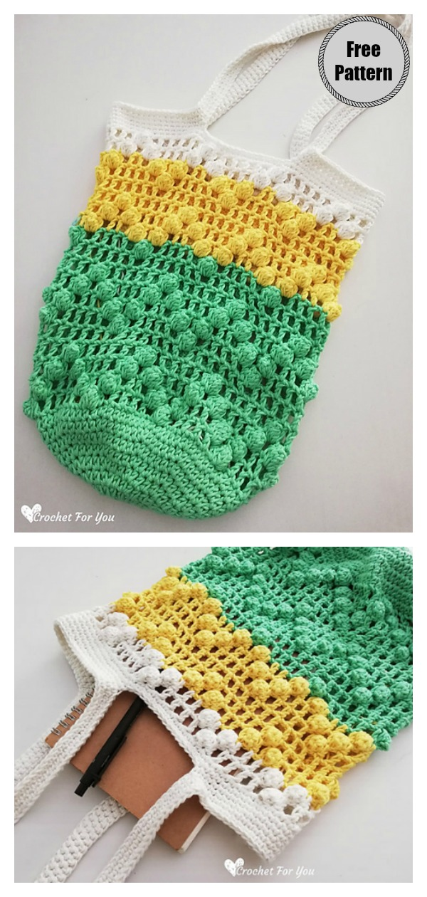 Lace & Popcorn Market Bag Free Crochet Pattern