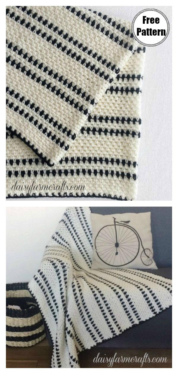 Modern Moss Stitch Blanket Free Crochet Pattern