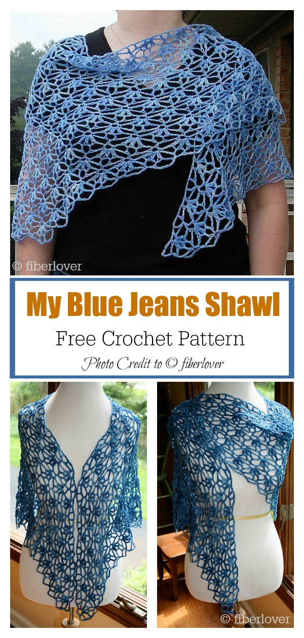 My Blue Jeans Shawl Free Crochet Pattern