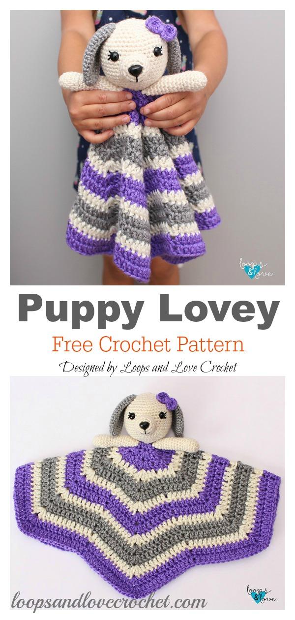 Puppy Dog Baby Lovey Blanket Free Crochet Pattern