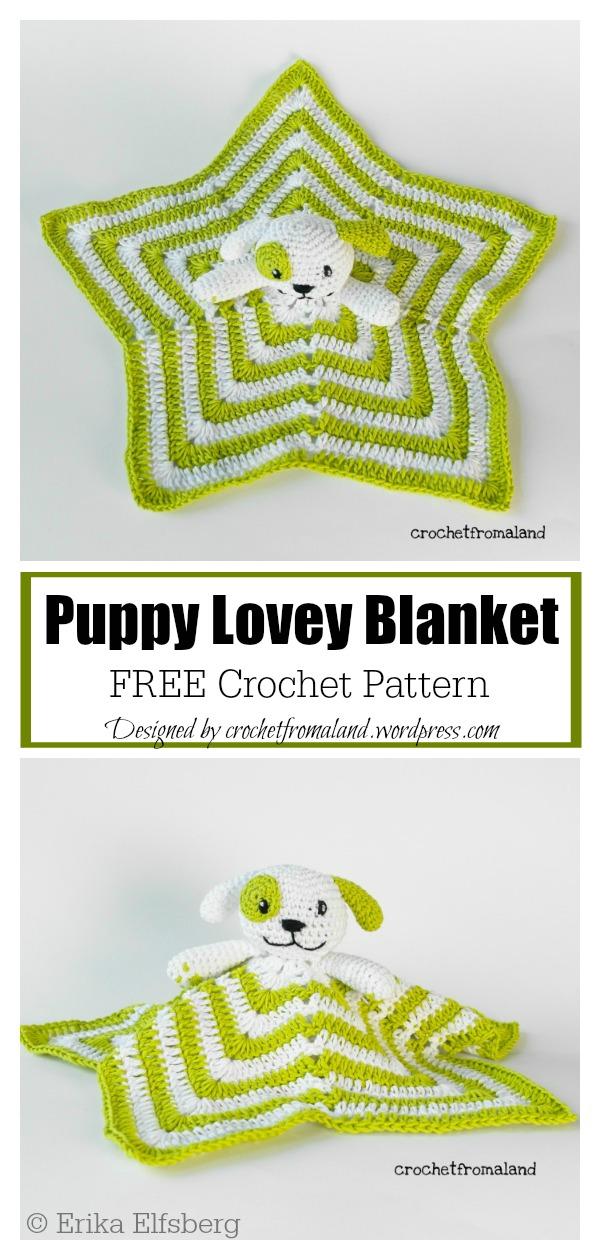 Puppy Dog Lovey Security Blanket Free Crochet Pattern