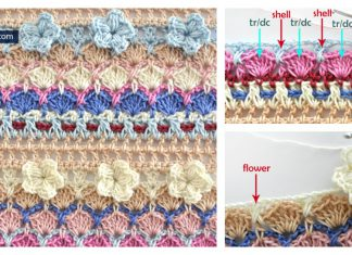 3D Flower and Shell Stitch Free Crochet Pattern