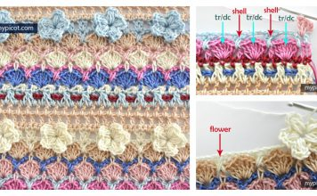3D Flower and Shell Stitch Free Crochet Pattern