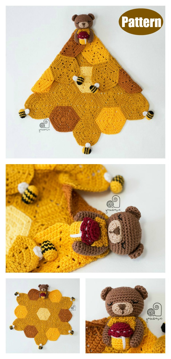 Amigurumi Bear Lovey Blanket Crochet Pattern