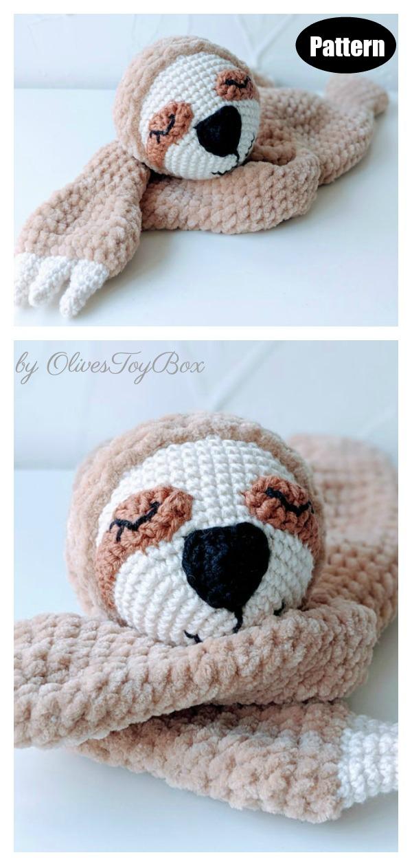 Amigurumi Sloth Lovey Blanket Crochet Pattern