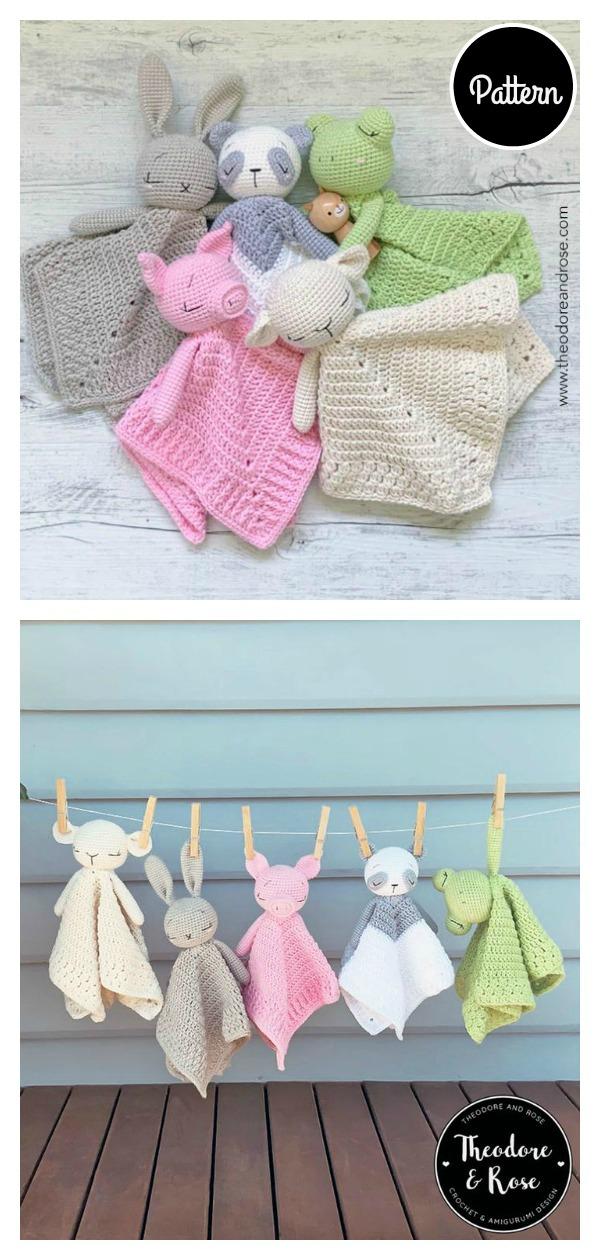 Bunny Panda Piglet Lamb and Frog Lovey Blanket Crochet Pattern