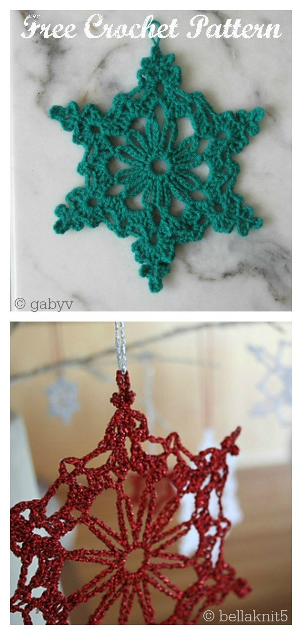 Chain Loop Snowflake Christmas Ornaments Free Crochet Pattern
