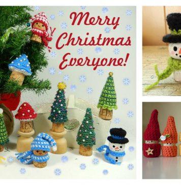 Christmas Wine Cork Ornament Free Crochet Pattern