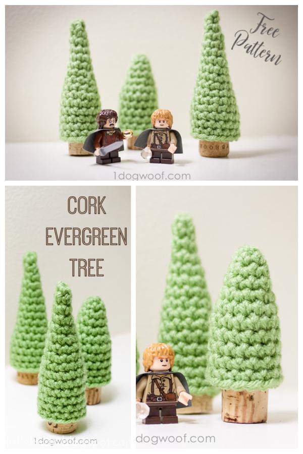 Cork Evergreen Trees Free Crochet Pattern