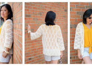 Diamond Clusters Cardigan Free Crochet Pattern