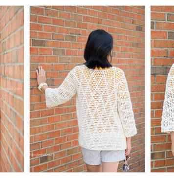 Diamond Clusters Cardigan Free Crochet Pattern