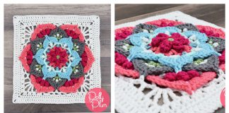 Flower Afghan Block Free Crochet Pattern