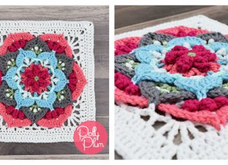 Flower Afghan Block Free Crochet Pattern