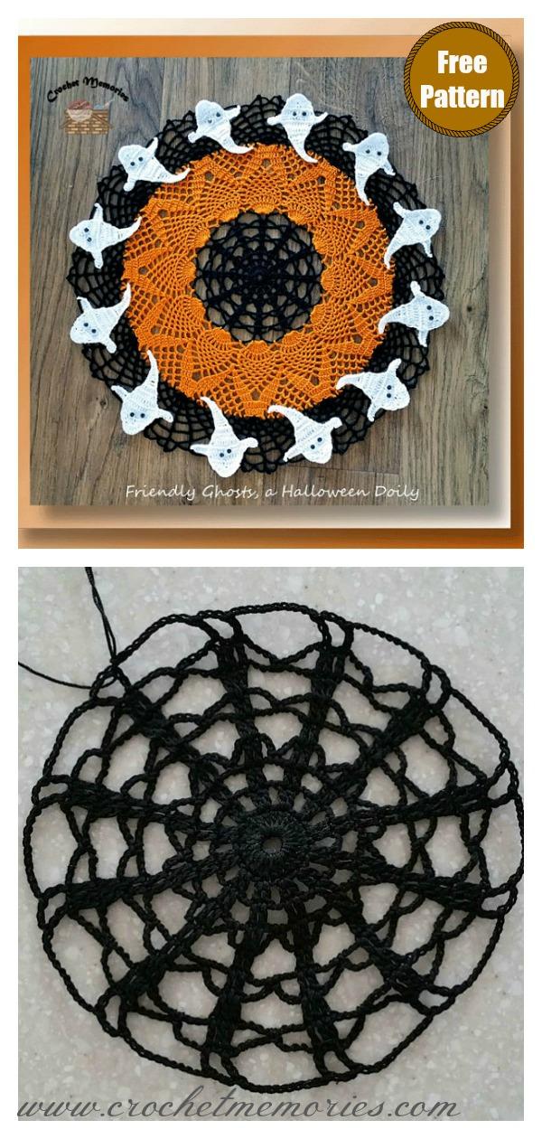 Halloween Friendly Ghosts Lace Doily Free Crochet Pattern