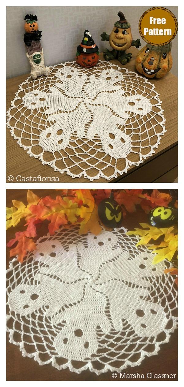 Halloween Ghost Lace Doily Free Crochet Pattern