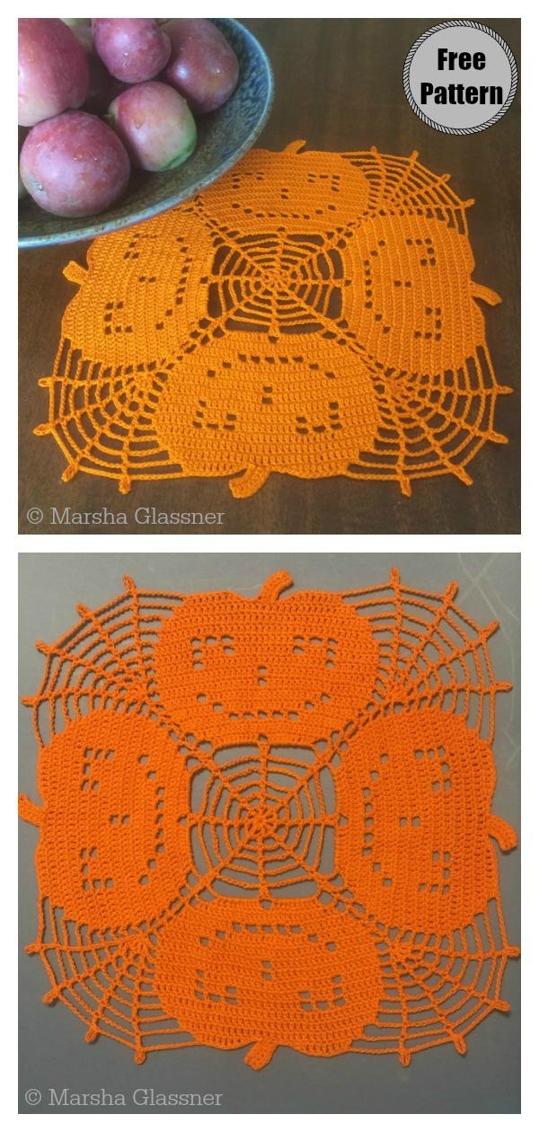 Halloween Pumpkin Lace Doily Free Crochet Pattern