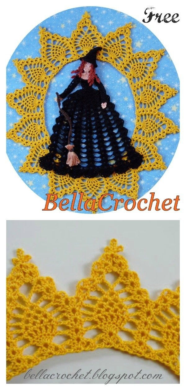 Halloween Witch Lace Doily Free Crochet Pattern