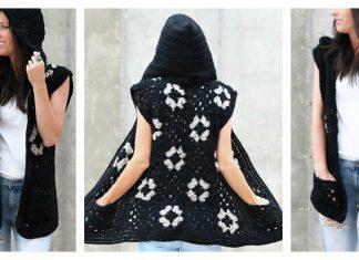 Hooded Granny Square Vest Free Crochet Pattern