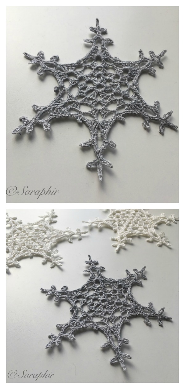 Large Tosne Snowflake Christmas Ornaments Free Crochet Pattern