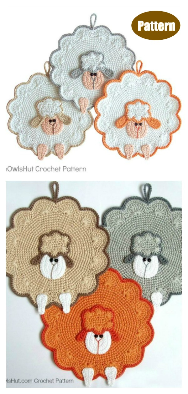 Sheep Potholder Crochet Pattern