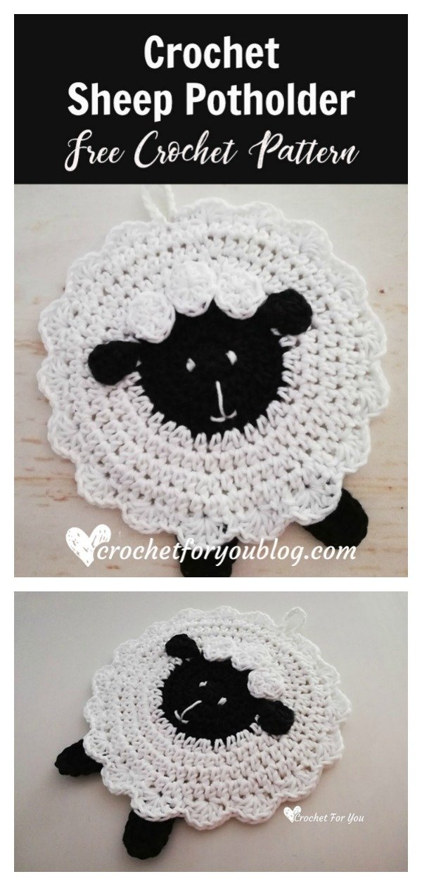 Sheep Potholder Free Crochet Pattern