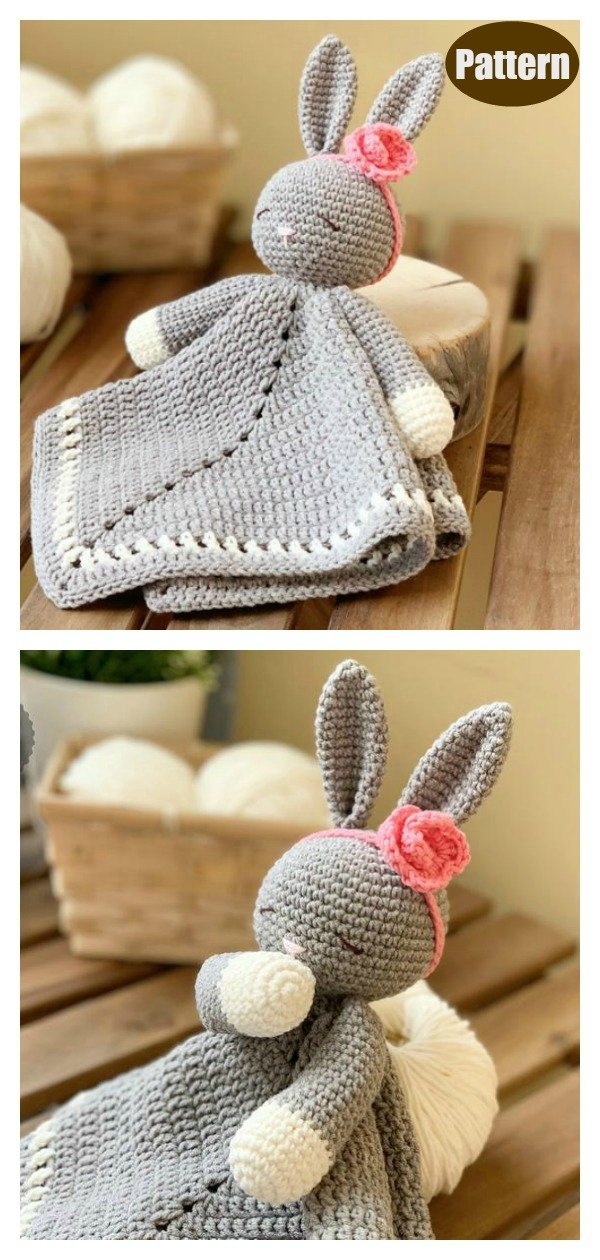 Sleepy Bunny Lovey Security Blanket Crochet Pattern