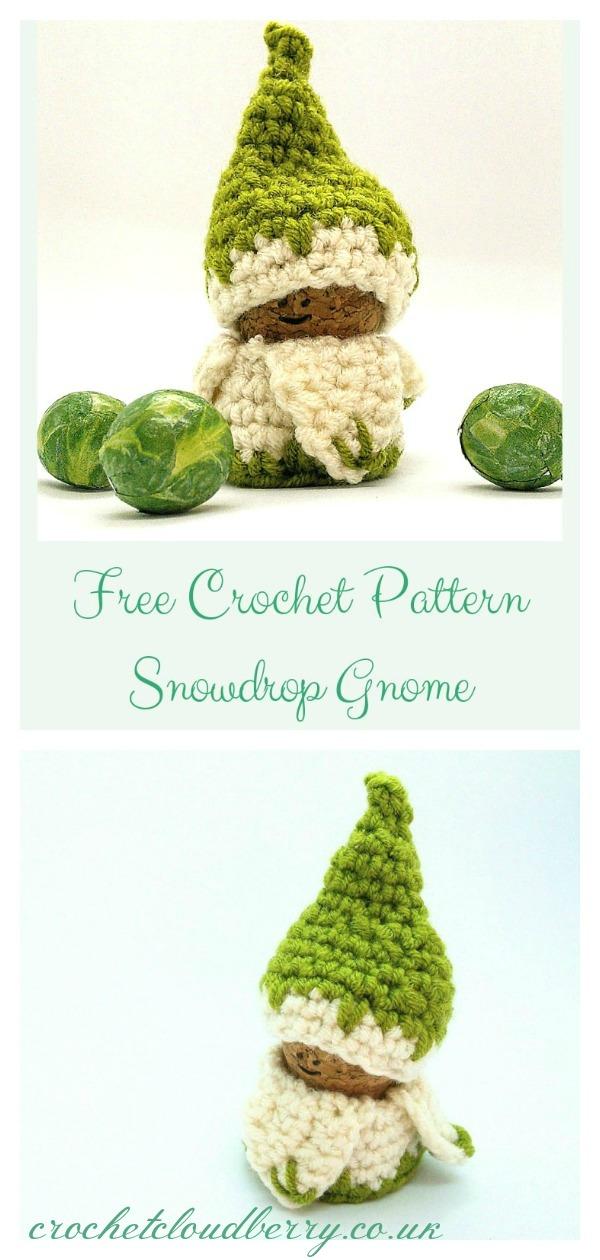 Snowdrop Gnome Ornament Free Crochet Pattern