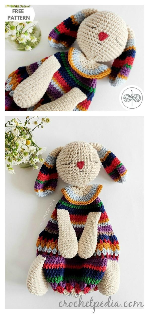 Striped Bunny Baby Lovey Free Crochet Pattern