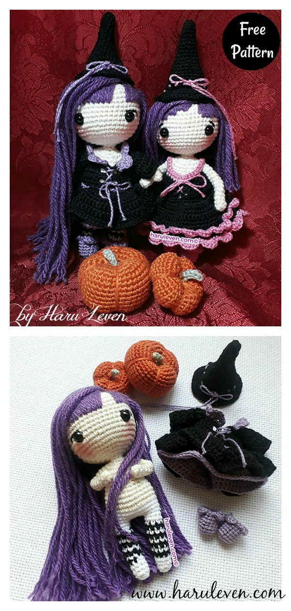 The Witch Sisters Lumy and Lully Free Crochet Pattern