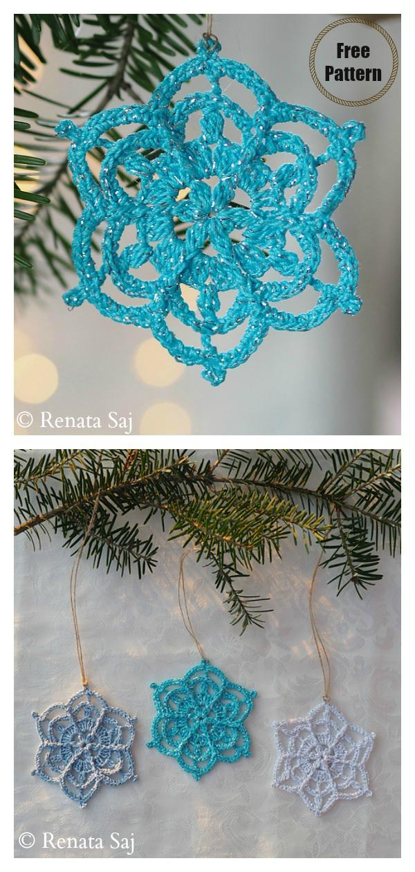 Winter Flower Snowflake Christmas Ornaments Free Crochet Pattern