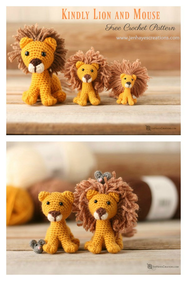 Amigurumi Kindly Lion and Mouse Free Crochet Pattern