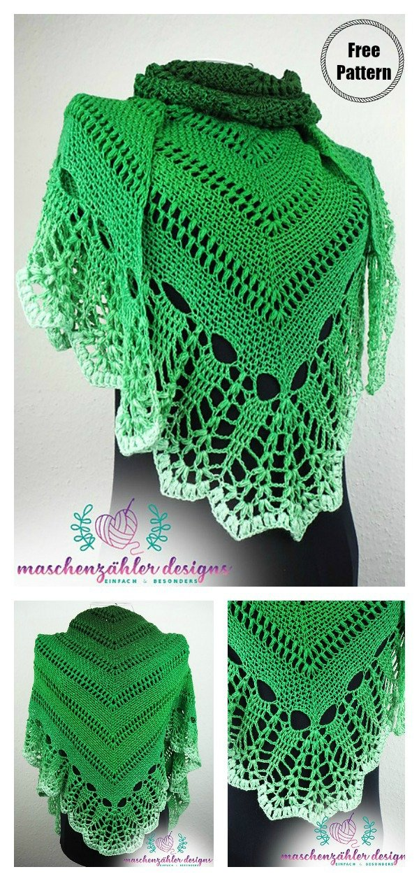 Astraios Triangle Lace Shawl Free Crochet Pattern