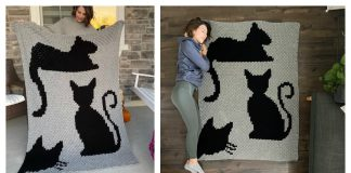 C2C Cat Afghan Blanket Free Crochet Pattern