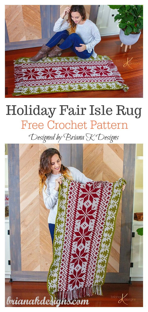 Christmas Holiday Fair Isle Rug Free Crochet Pattern