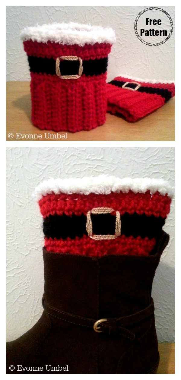 Christmas Santa Boot Cuffs Free Crochet Pattern