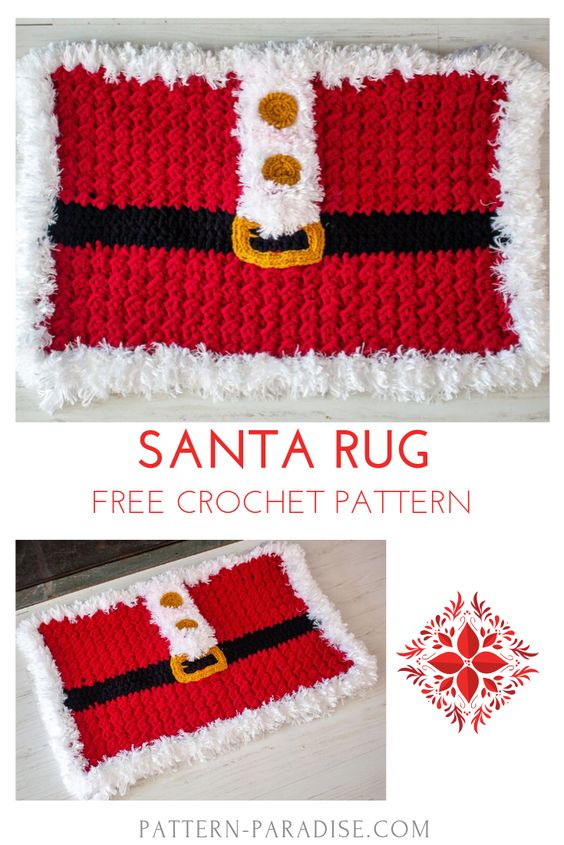 Christmas Santa Rug Free Crochet Pattern