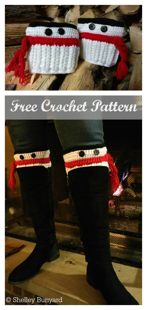 Christmas Snowman Boot Cuffs Free Crochet Pattern