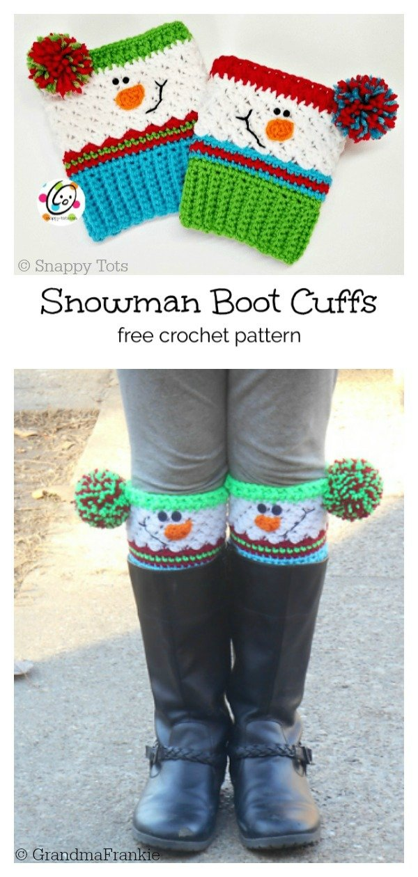 Christmas Snowman Boot Cuffs with Pompom Free Crochet Pattern