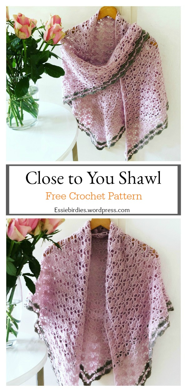 Close to You Triangle Lace Shawl Free Crochet Pattern