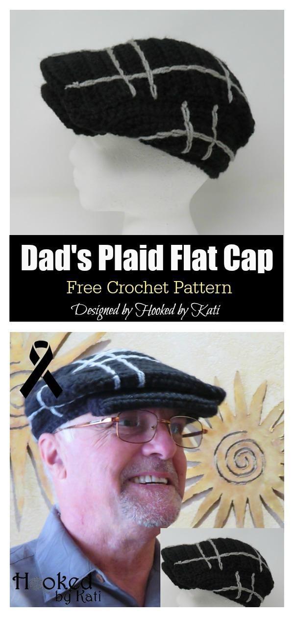 Dad's Plaid Flat Cap Free Crochet Pattern