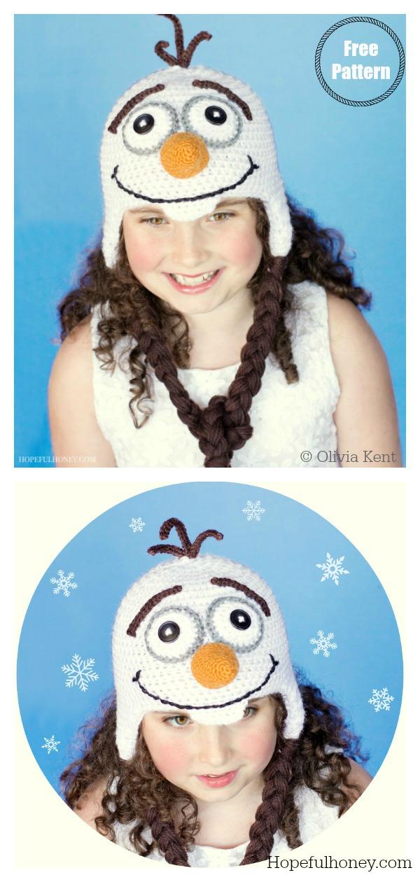 Frozen Olaf Inspired Hat Free Crochet Pattern