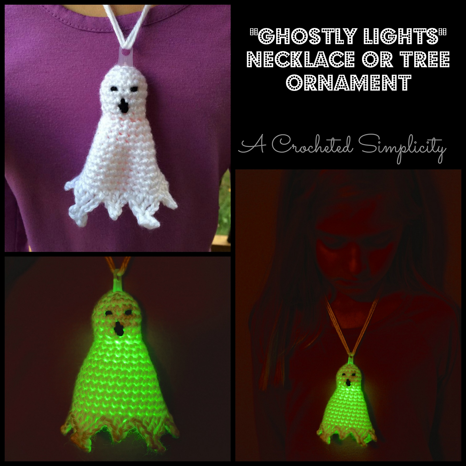Ghostly Lights Tree Ornament Free Crochet Pattern