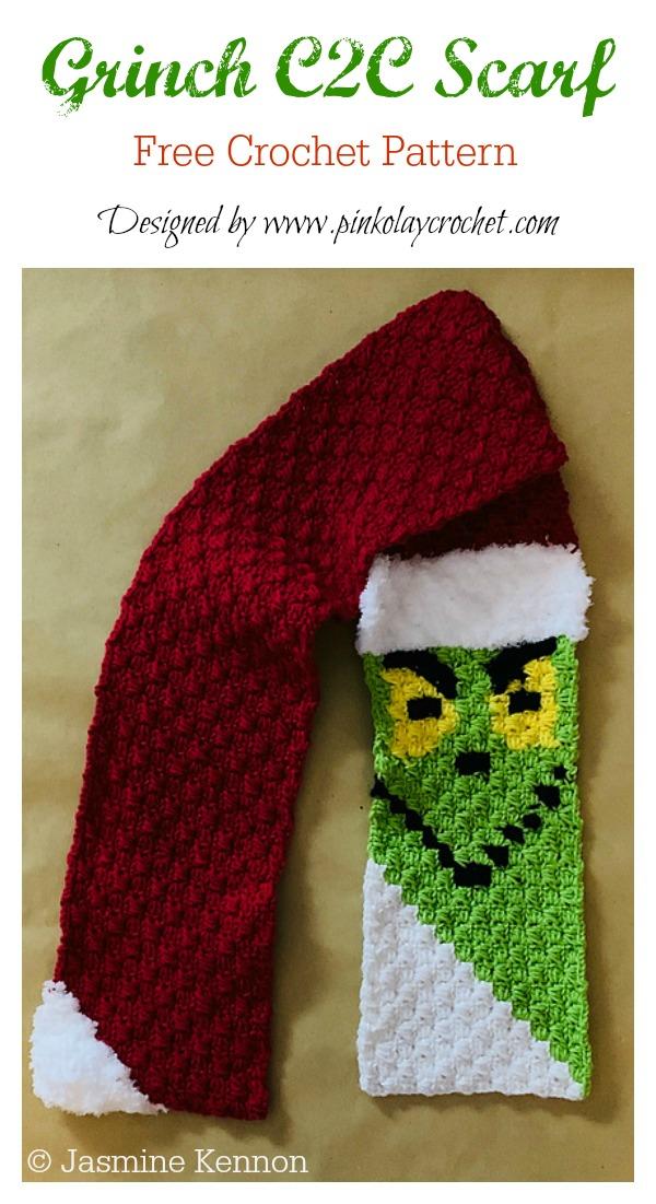 Grinch C2C Scarf Free Crochet Pattern