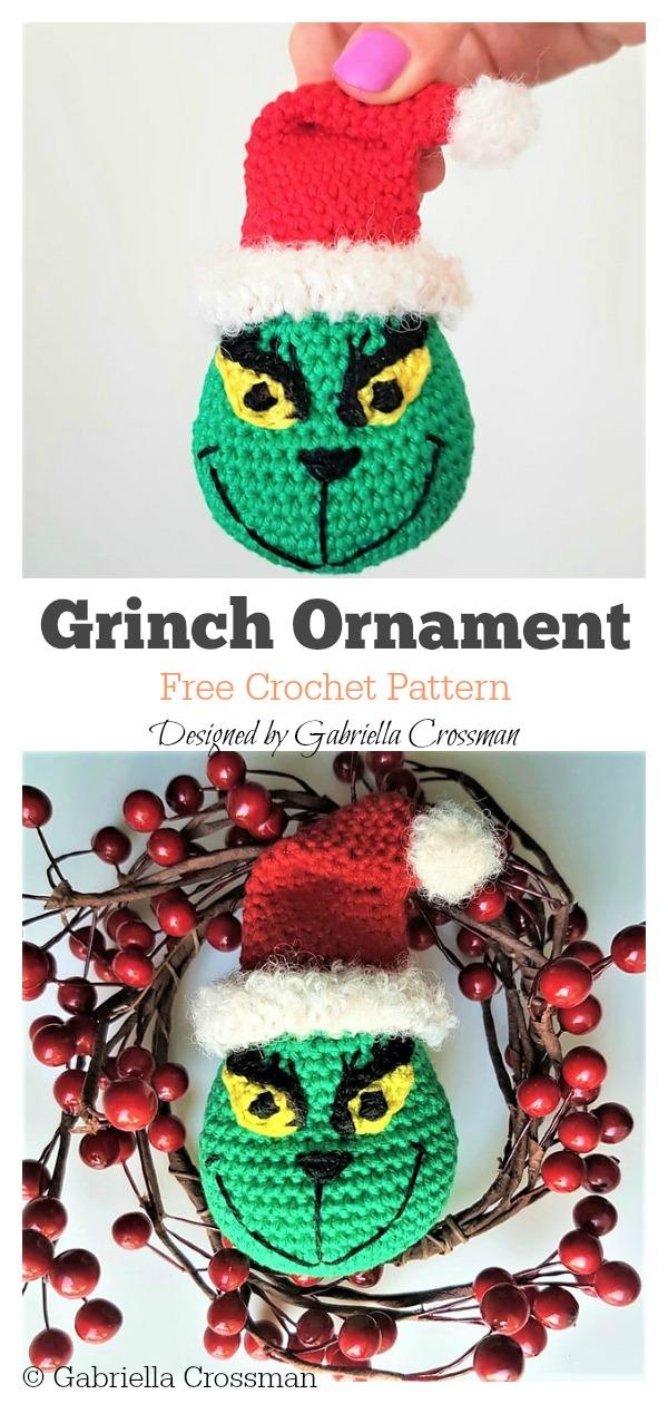 Grinch Ornament Free Crochet Pattern