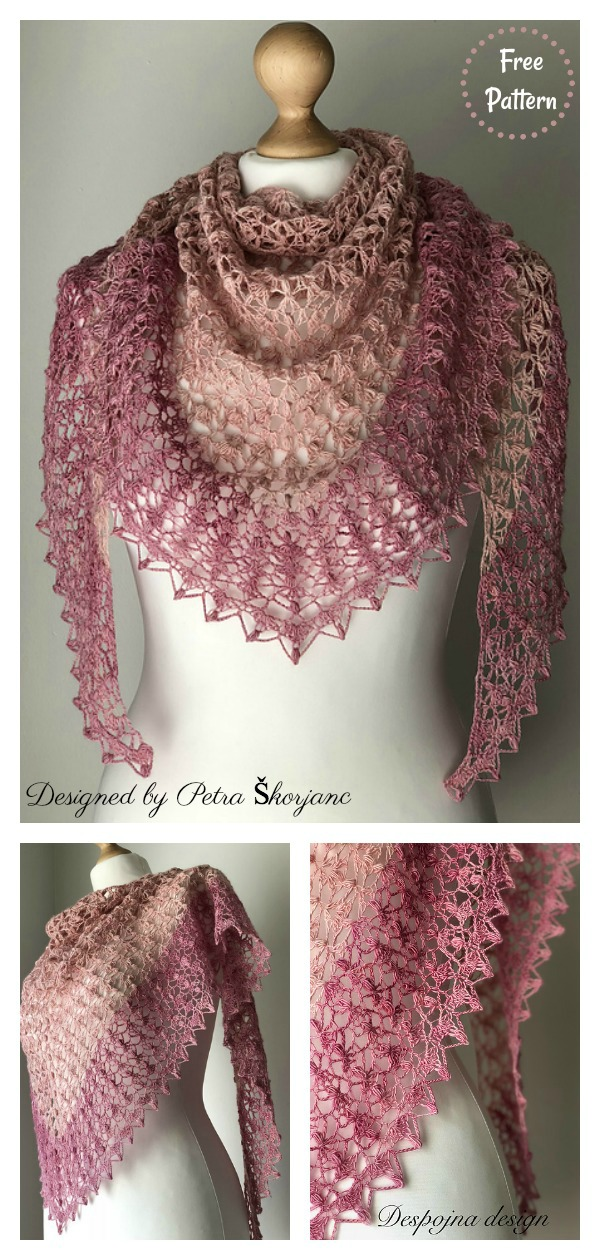 Julija Triangle Lace Shawl Free Crochet Pattern
