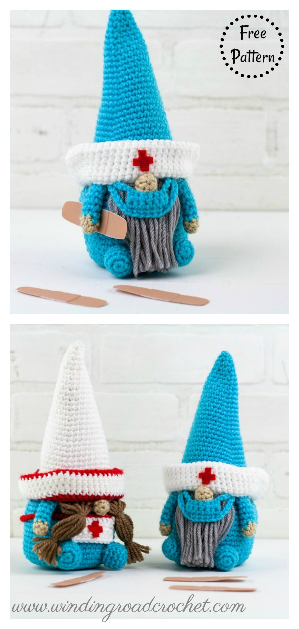 Nurse and Doctor Gnome Free Crochet Pattern