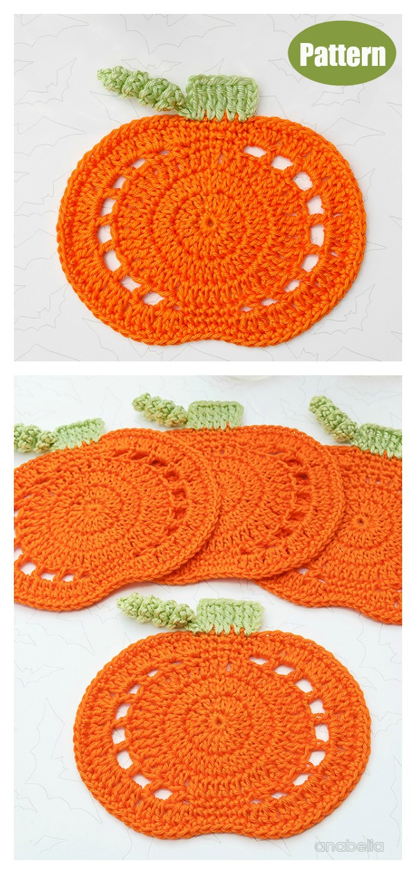 Pumpkin Coasters Crochet Pattern